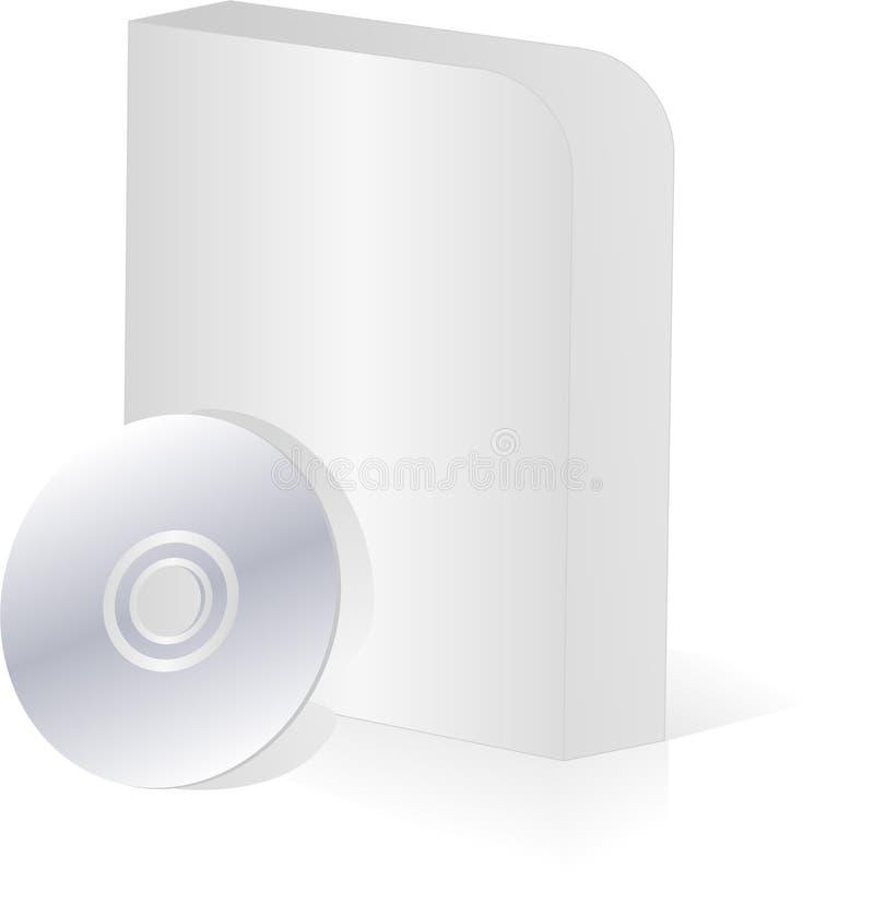 Unbelegter Software-Kasten der runden Ecke mit cd Platte stock abbildung