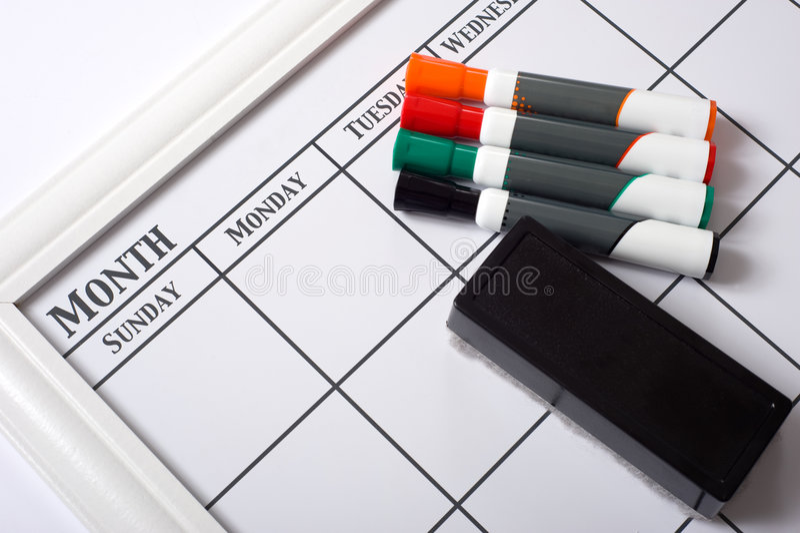 Unbelegter weißer Kalender stockfotografie