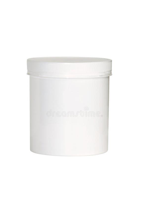 Unbelegter weißer kosmetischer Behälter stockfoto