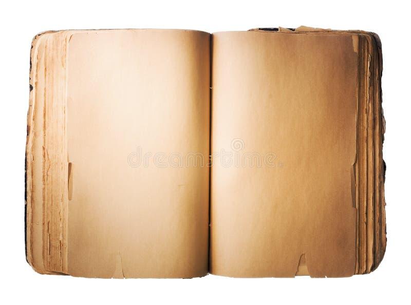 Unbelegtes altes Buch getrennt auf weißem Hintergrund stockbild