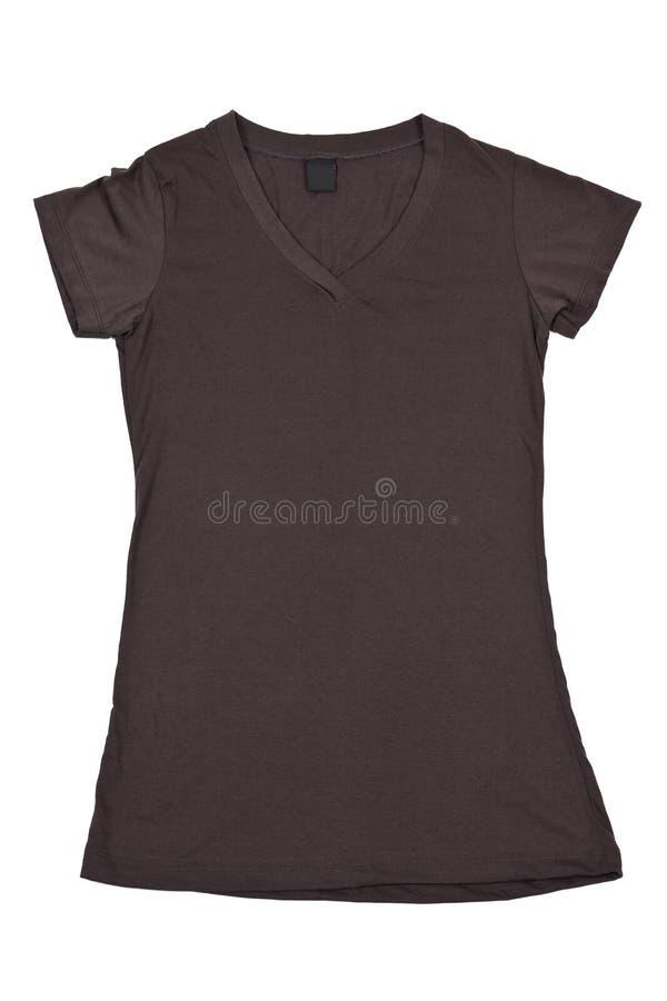 Unbelegtes braunes T-Shirt der Frauen lizenzfreie stockbilder