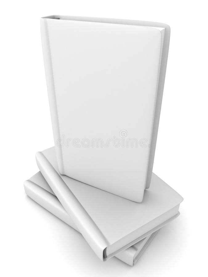 Unbelegtes Buch auf Stapel mit weißer Abdeckung auf Weiß vektor abbildung