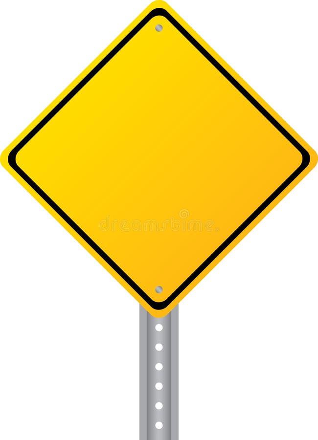 Unbelegtes gelbes Verkehrsschild getrennt auf Weiß stock abbildung