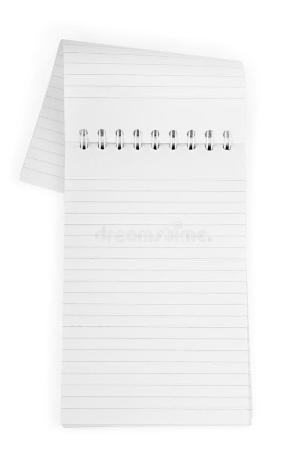 Unbelegtes Notizbuch getrennt auf Weiß lizenzfreie stockfotos