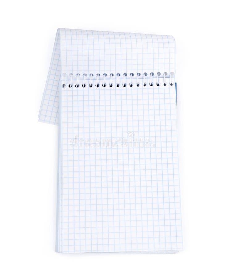 Unbelegtes Notizbuch getrennt auf Weiß lizenzfreie stockfotografie
