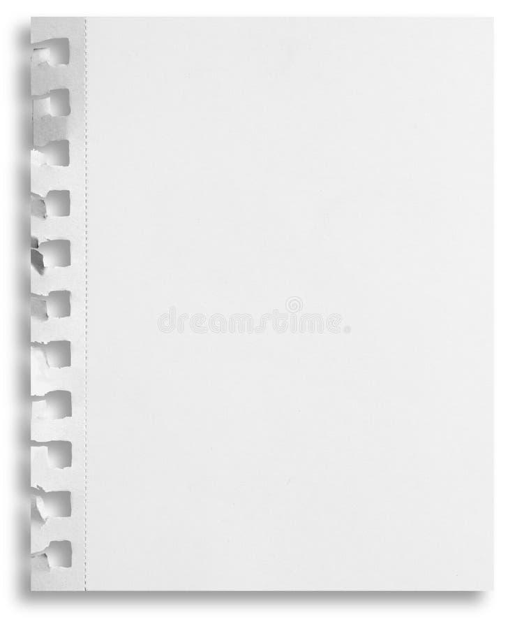 Unbelegtes Papier getrennt mit Löchern und Schatten stockbilder