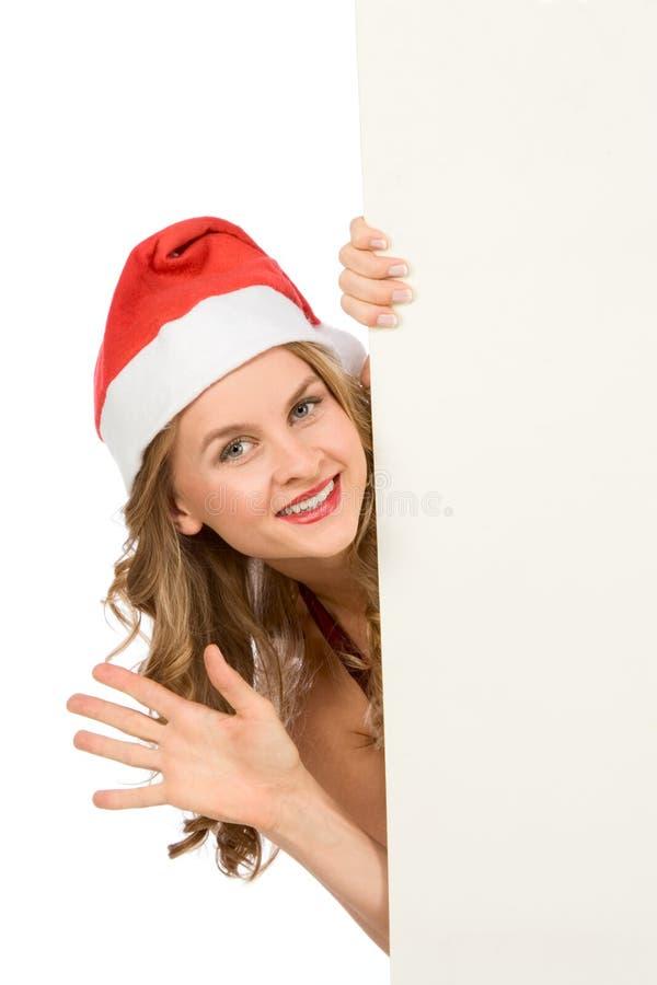 Unbelegtes Zeichen - Mrs Weihnachtsmann (mit Exemplarplatz) stockfotografie