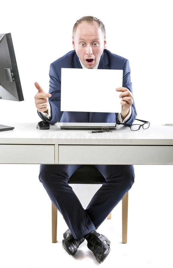 Unbelievable! Businessman shocked by what he's seen stock photo