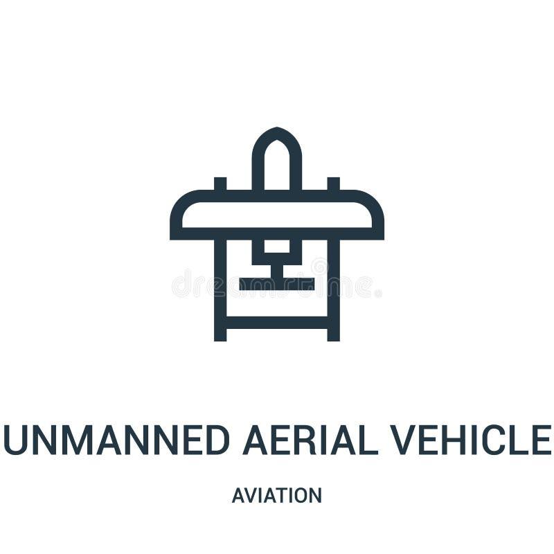 unbemannter Luftfahrzeugikonenvektor von der Luftfahrtsammlung Dünne Linie unbemannte Luftfahrzeugentwurfsikonen-Vektorillustrati lizenzfreie abbildung