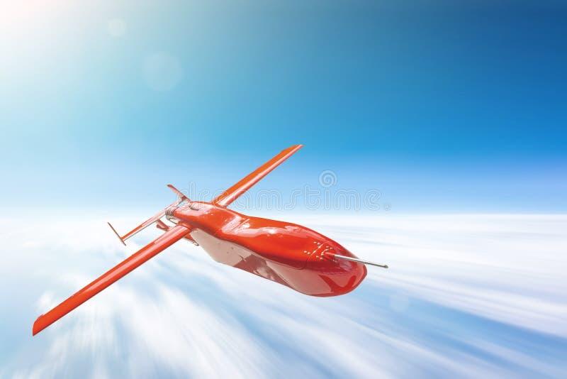 Unbemanntes Militärdrohnenfliegen über cloudscape Sonne hell, Bewegungsunschärfegeschwindigkeit stockbilder