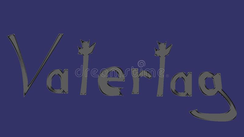 Father´s day written in german. Vatertag written in grey letters with black surrounding in a blue background, father´s day vector image, greeting card royalty free illustration