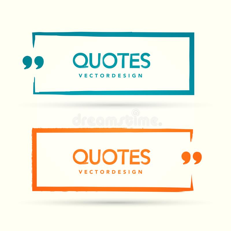 Vector Illustration Quotation Mark Speech Bubble Set. Quote sign icon. vector illustration