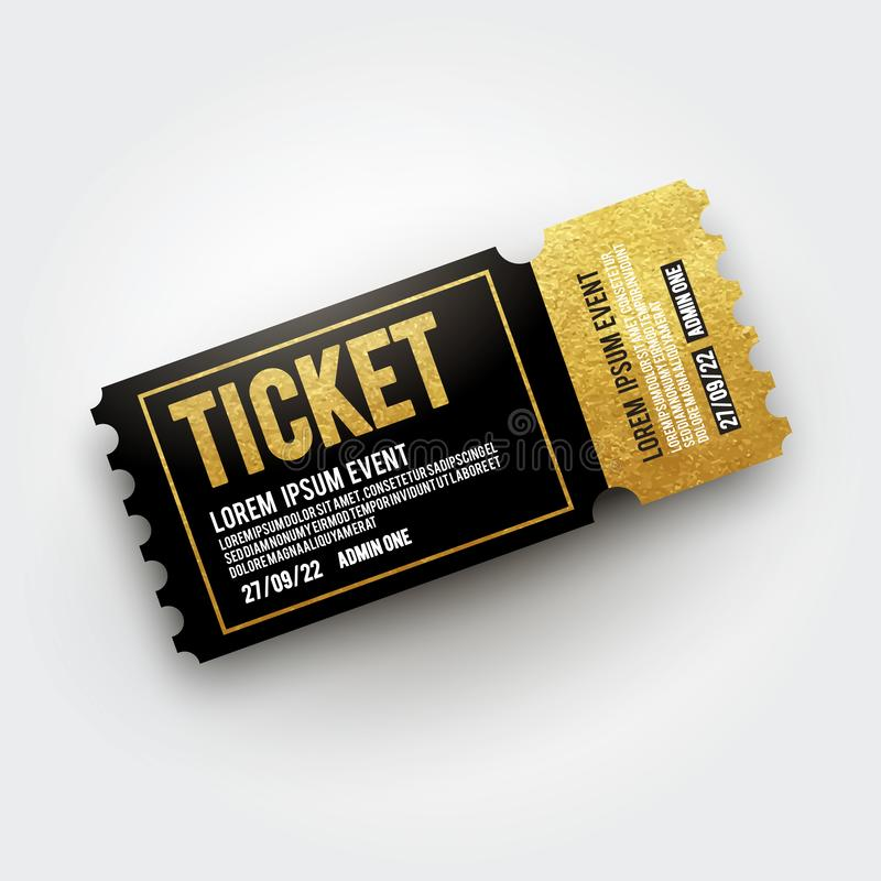 Vector ticket for Cinema, theater, concert, movie, performance, party, event festival. Realistic black and gold vip ticket templat stock illustration