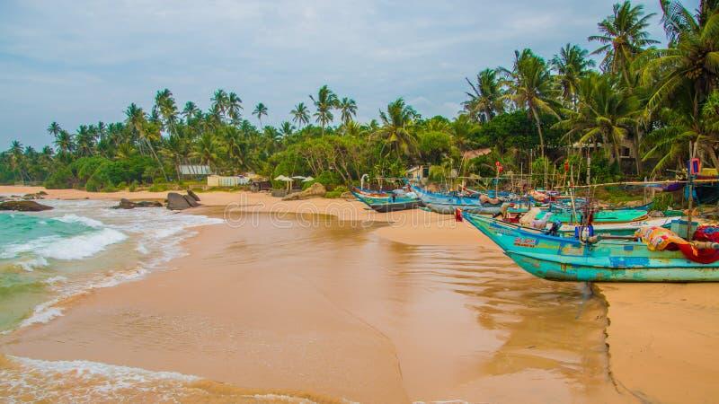 Unberührter tropischer Strand Tropische Ferien in Sri Lanka lizenzfreie stockbilder