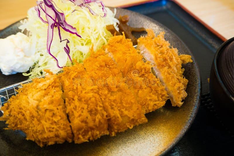 Unblo van het de ochtend vastgestelde Japanse voedsel van Tonkatsu of van Kippenkatsu royalty-vrije stock fotografie