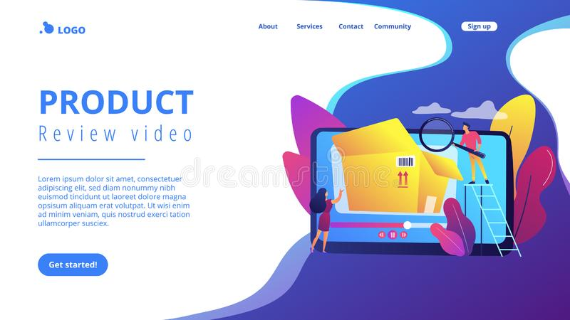 Unboxing video concept landing page. vector illustration