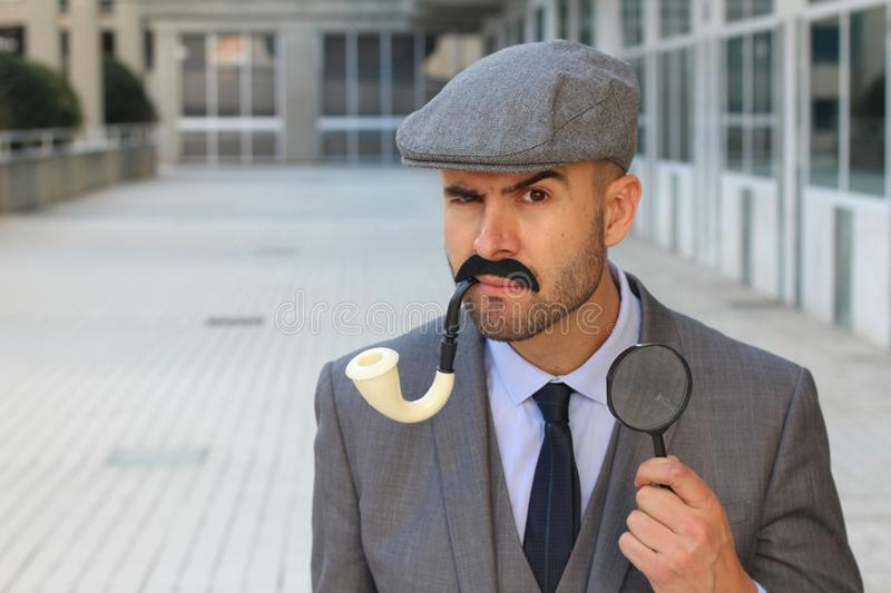 Uncertain detective figuring something out stock images