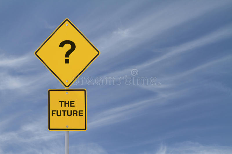 Uncertainty. Conceptual road sign implying uncertainty down the road royalty free stock images