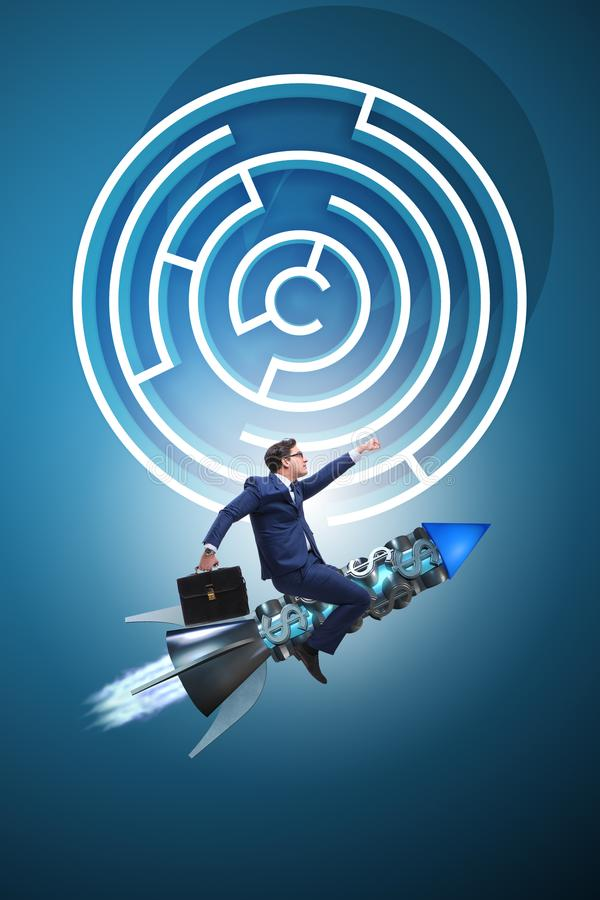 The uncertainty concept with businessman lost in maze labyrinth. Uncertainty concept with businessman lost in maze labyrinth royalty free stock images