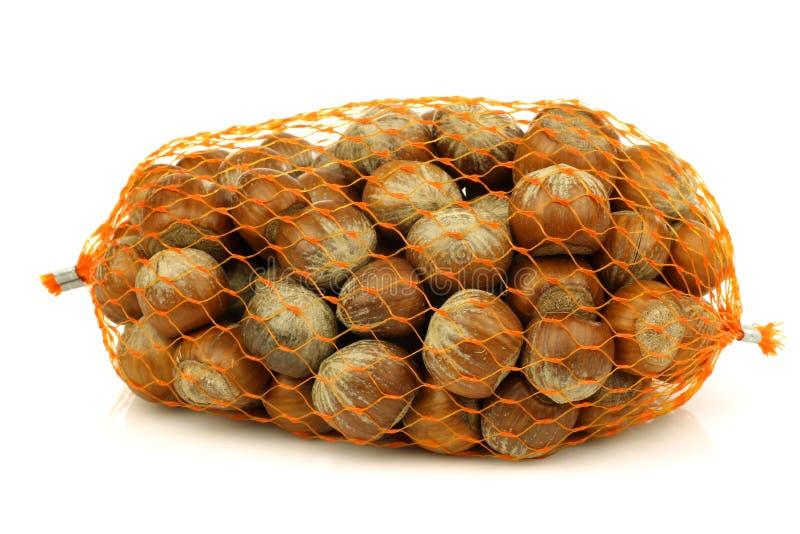 Unch delle nocciole fresche in una rete di plastica immagine stock libera da diritti