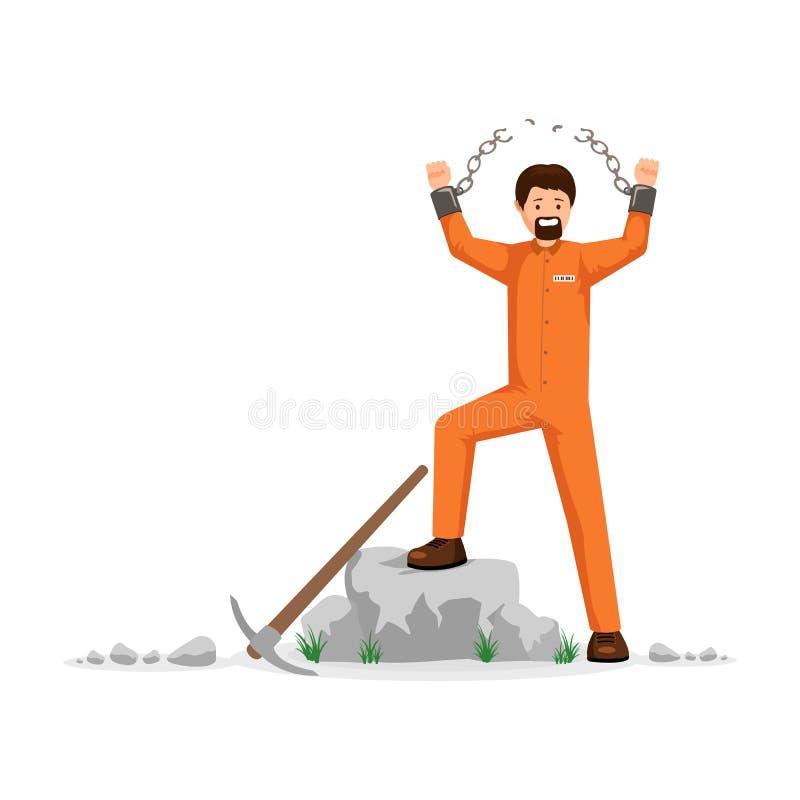 Unchained prisoner flat vector illustration. Man in orange prison uniform, hard labourer, rioting, conquering freedom. Freed prisoner with broken chains vector stock illustration