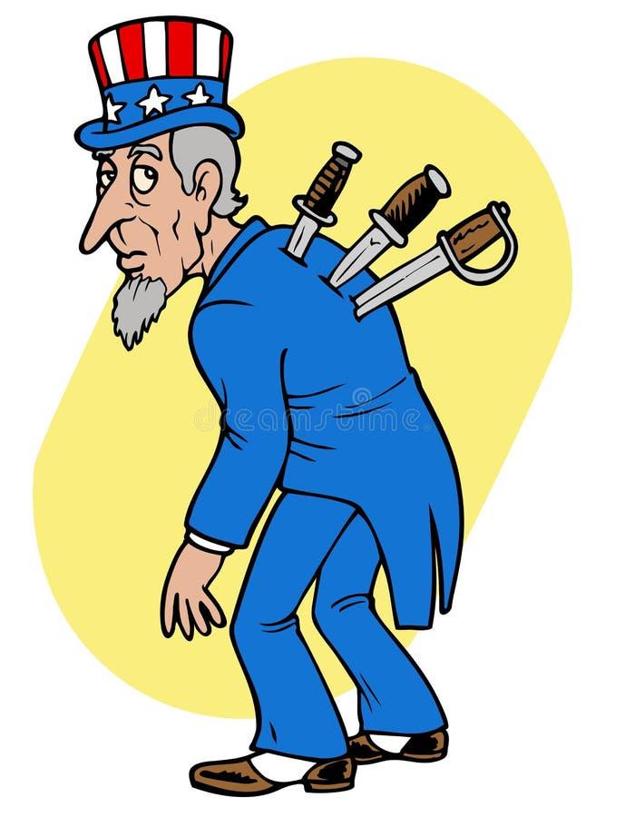 Uncle Sam betrayed. Uncle Sam under attack. Conceptual political illustration royalty free illustration