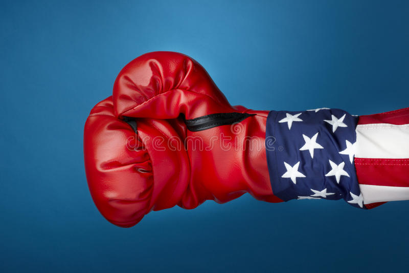 Uncle Sam With Boxing Gloves Royalty Free Stock Image