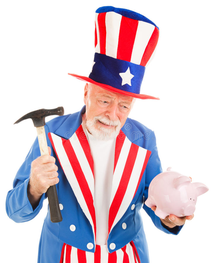 Uncle Sam Desperate for Cash stock image