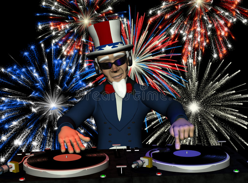 Uncle Sam DJ - Fireworks. Uncle Sam's in the House and spinning some patriotic tunes. Turntables with vinyl albums and a fireworks light show vector illustration