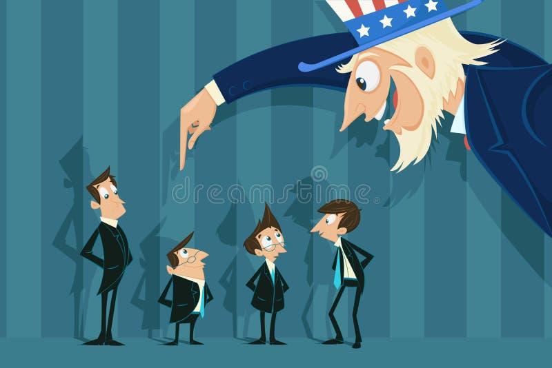 Uncle Sam doing job recruitment royalty free illustration