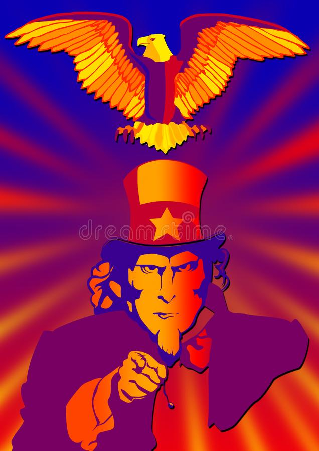 Uncle Sam and eagle royalty free stock photography