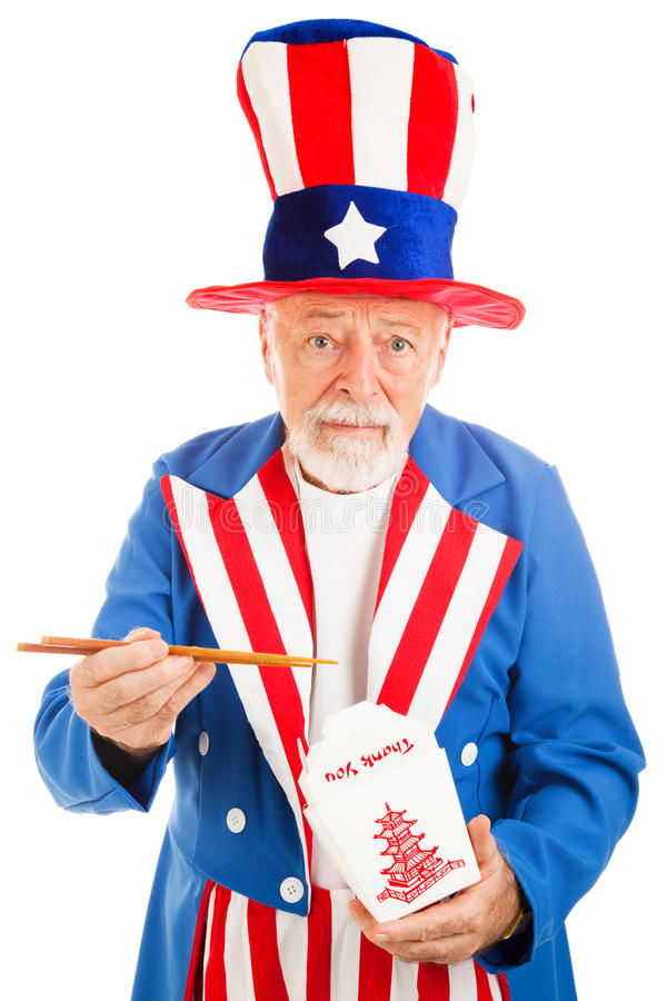 Download Uncle Sam Eats Chinese Takeout Stock Image - Image: 10259835