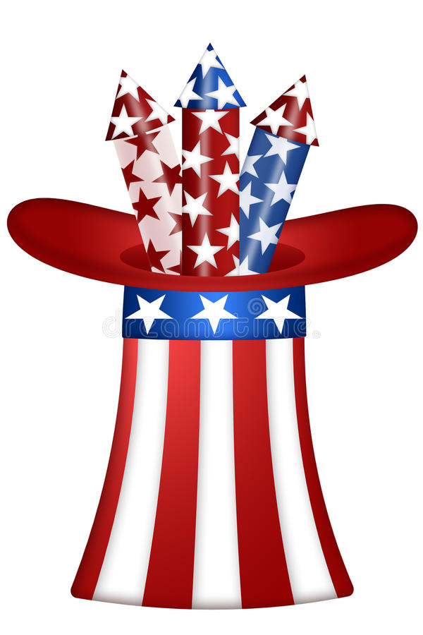 Uncle Sam Hat with Fireworks stock illustration