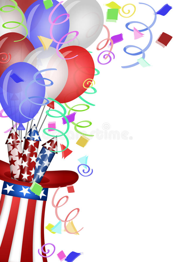 Uncle Sam Hat with Fireworks and Balloons. Uncle Sam Hat with Red White Blue Fireworks and Balloons Illustration royalty free illustration
