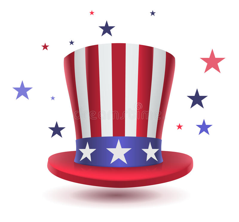 Uncle sam hat symbol of Presidents day. Isolated on white vector illustration vector illustration