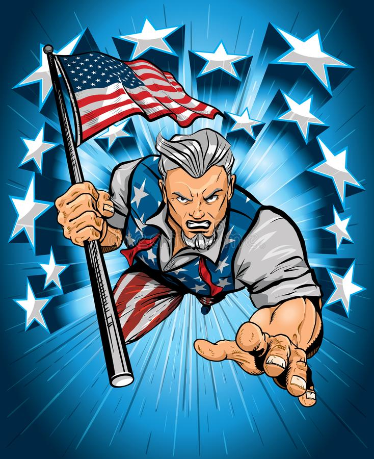 Uncle Sam Aggressively Leaping Forward stock images