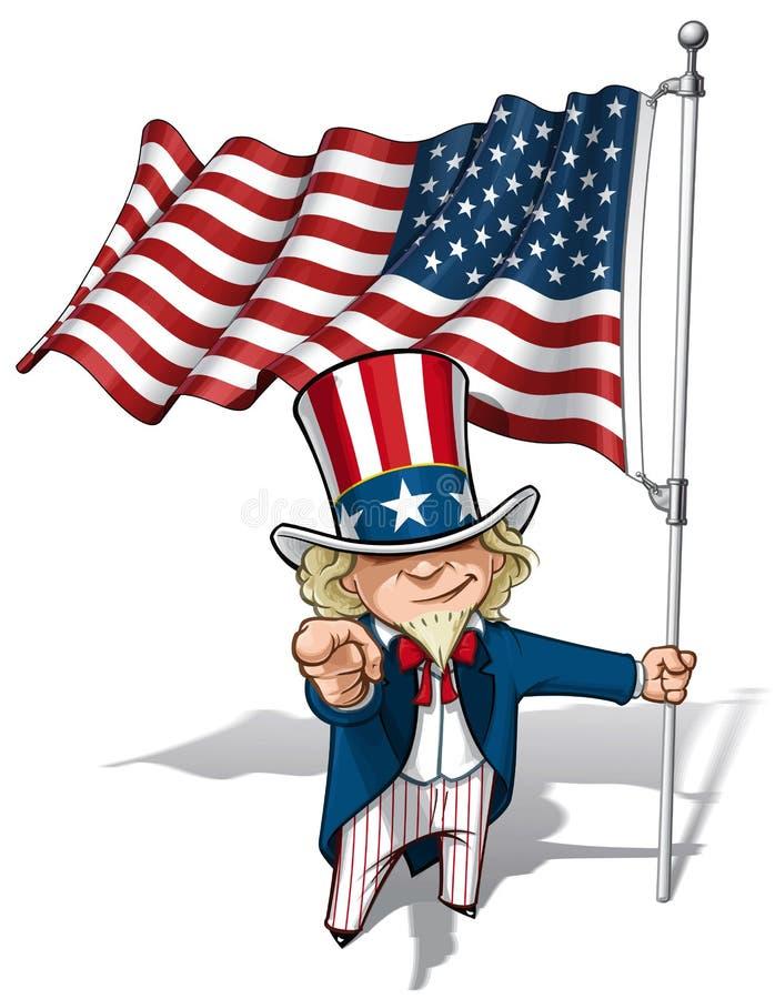 Uncle Sam I Want You - American Flag royalty free illustration