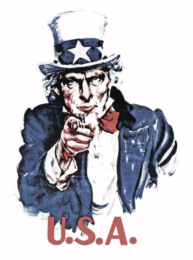 Uncle Sam. An original vintage halftone image of Uncle Sam incorporating a U.S.A. headline stock images