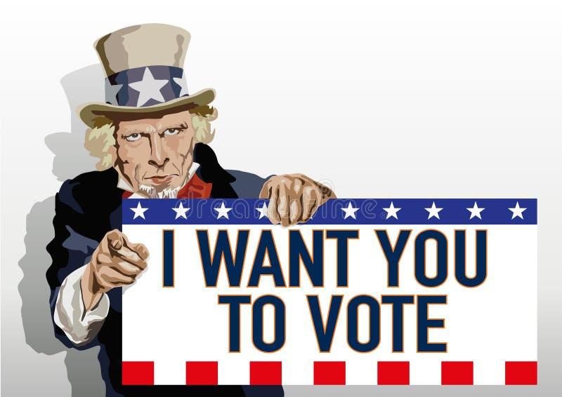 Uncle Sam stellt ein Zeichen amerikanische Wähler bitten zu wählen dar lizenzfreie abbildung