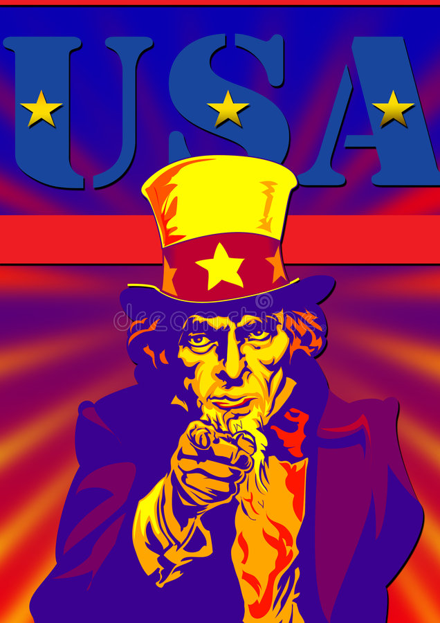 Uncle Sam with usa stock image