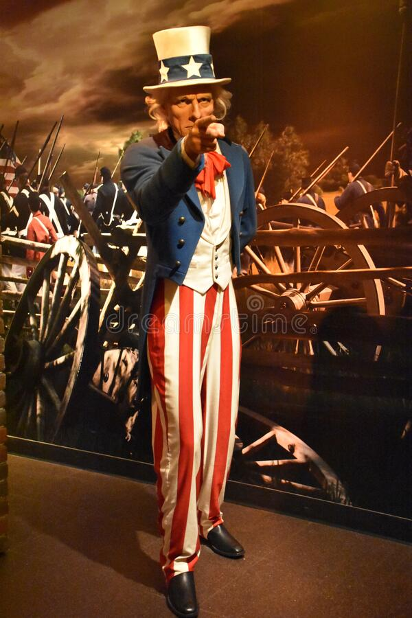 Uncle Sam wax statue at Madame Tussauds Wax Museum at ICON Park in Orlando, Florida royalty free stock photography