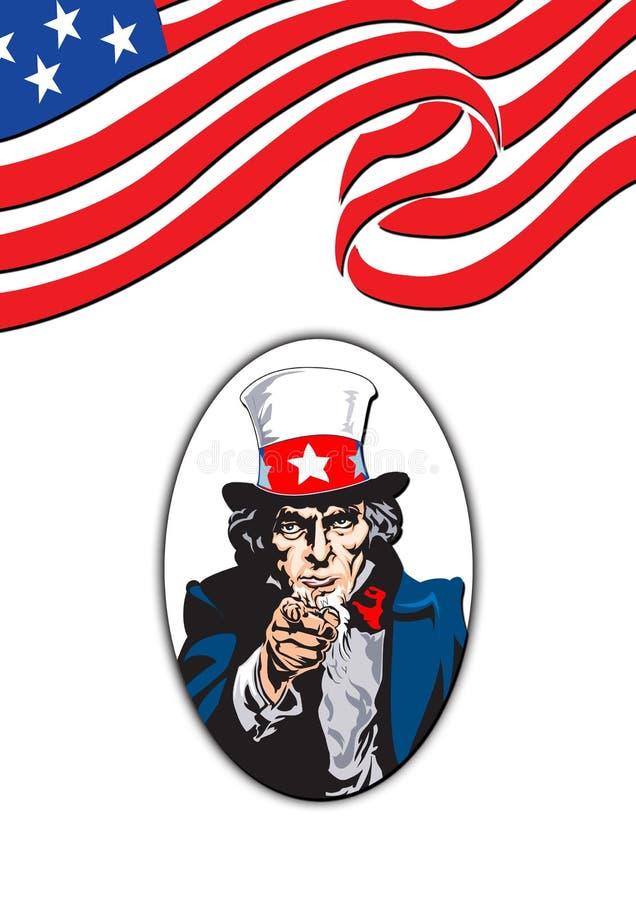 Uncle Sam in white vector illustration