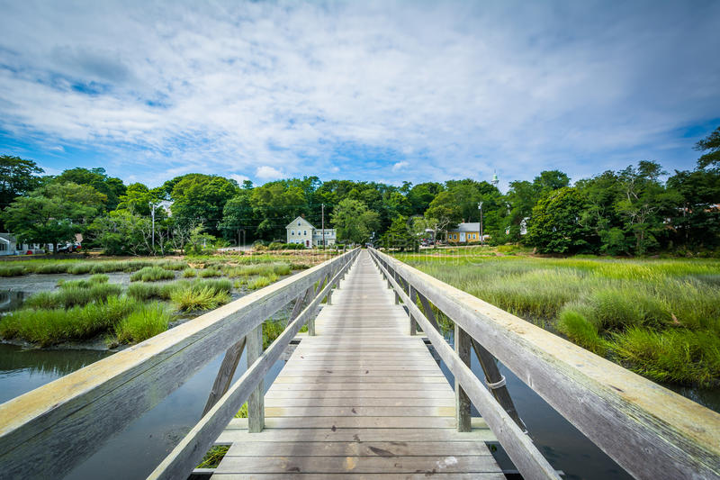 Uncle Tim's Bridge, in Wellfleet, Cape Cod, Massachusetts. royalty free stock photos
