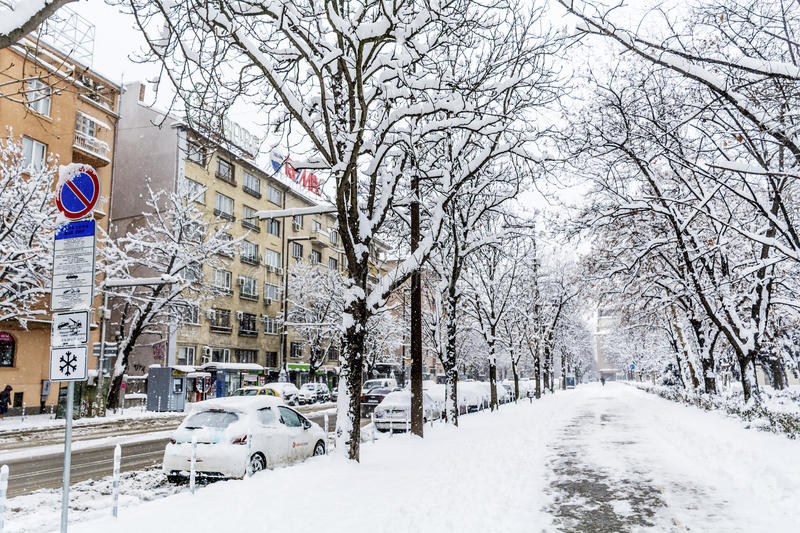 Download Uncleaned Sidewalk And Street With Snow In Sofia Editorial Stock Image - Image: 83719124