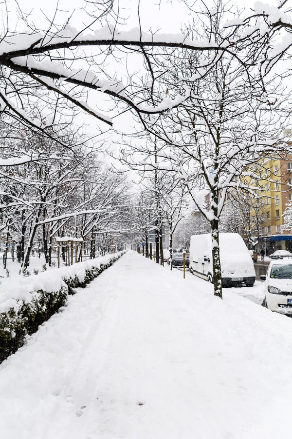 Download Uncleaned Sidewalk And Street With Snow In Sofia Editorial Photography - Image: 83719452