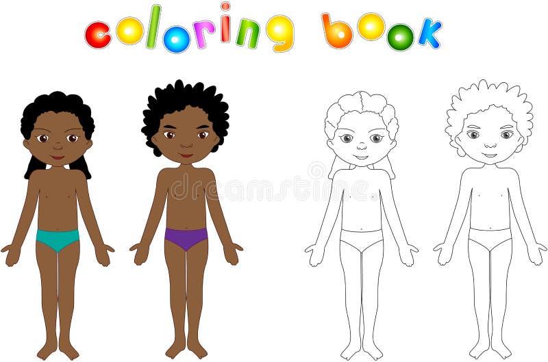 Unclothed мальчик и девушка Воспитательная книжка-раскраска для детей иллюстрация вектора