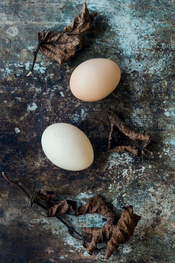 Uncolored φυσικά αυγά Πάσχας, ευτυχής έννοια Πάσχας, αναδρομικό Πάσχα στοκ εικόνα