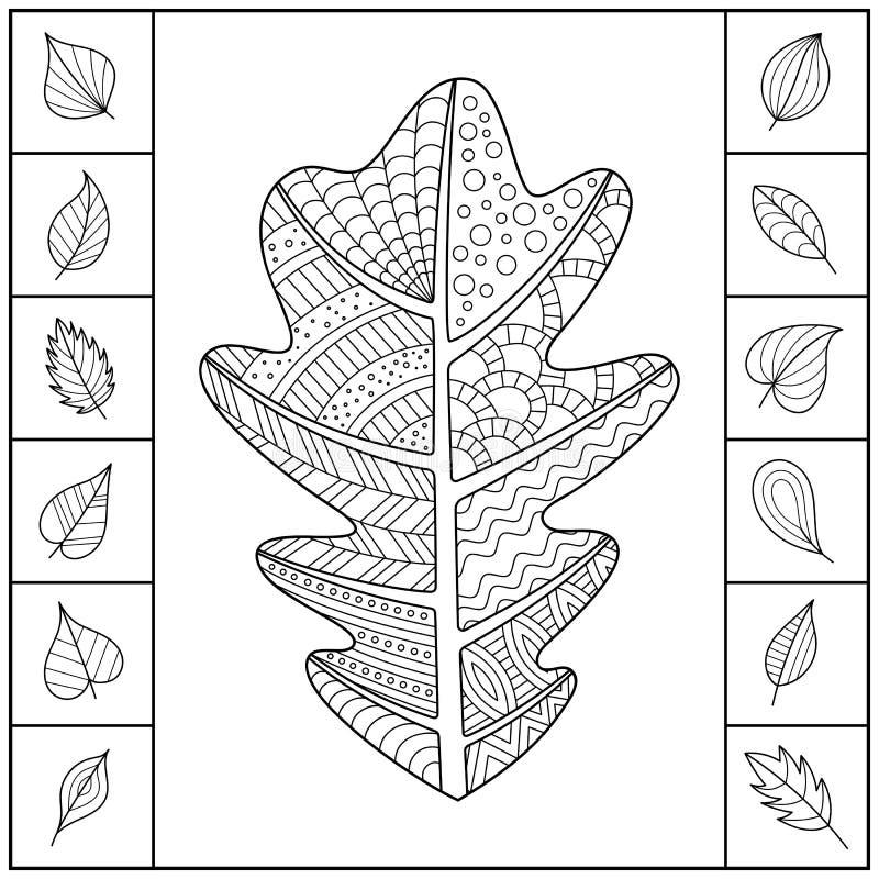 Uncolored сделанные по образцу лист дуба и различные простые листья иллюстрация штока