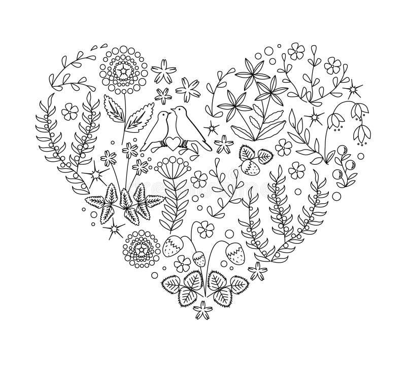 Uncolored флористическое сердце с заводами и птица гнездятся нарисованный вручную вектор для вашего дизайна, карточки doodle свад иллюстрация штока