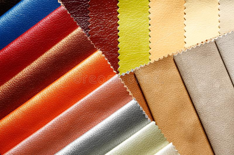 Uncommon dermatin background in admirable tones. Eco-leather samples. royalty free stock image
